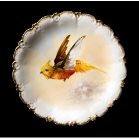 Старинная тарелка в подарок, антикварный фарфор - Летящий фазан