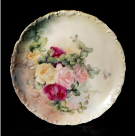 Старинный фарфор в подарок, антикварная тарелка Розы Limoges