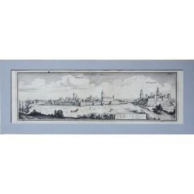 Антикварная гравюра город Нарва и Иван-города