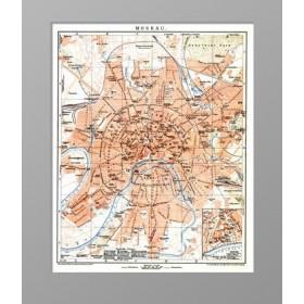 Старинный план Москвы с линиями конки и железнодорожными путями - купить в подарок