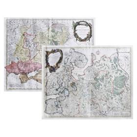 Роскошный комплект из двух карт Север и Юг европейской России 1753 г.