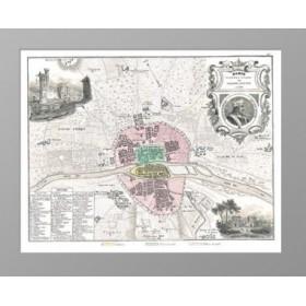 Антикварный декоративный план Парижа в границах 1223 года Франция 1860 г.