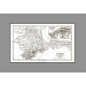 Старинная карта Крыма 19 века, созданная экспедицией Демидова 1837 года.