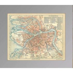 Антикварный план Санкт-Петербурга. Издан в 1886 году в Германии