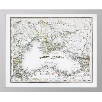 Старинная Карта Крыма и Черного моря во времена античности на латыни