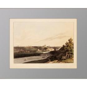 Смоленск Музейная акватинта с акварельной раскраской 1815 г .