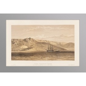 Антикварная литография Вид на дворец графа Воронцова в Крыму 1855 год