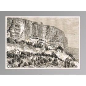 Старинная гравюра 1880 г. Крым. Пещерный город Чуфут-Кале