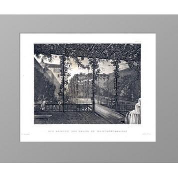 Старинная гравюра 1840 г. Крым. Сады Бахчисарая