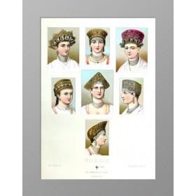Старинная гравюра Русские женские головные уборы-кокошники 1880 года