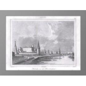 Старинная гравюра Москва. Вид на Кремль и каменный мост. 1838 г. Кадоль