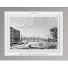 Старинная гравюра Санкт-Петербург. Трёхарочный мост . 1838 г.