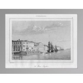 Старинная гравюра Санкт-Петербург. Вид на Английскую набережную. 1838 г.