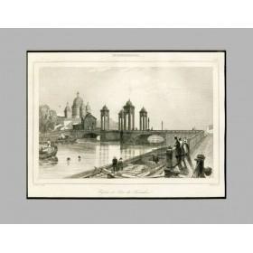 Продается старинная гравюра Санкт-Петербург. Вид на Троицкий мост. 1838 г.