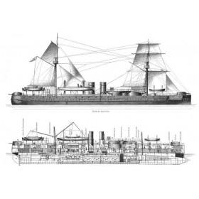 125 История военного кораблестроения. Броненосец Тин Юн. Старинная гравюра на стали. Лейпциг. 1888 год