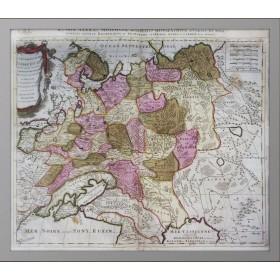 Продается старинная карта России или Московии конца 17 века. Кабинетный формат. Акварельная раскраска