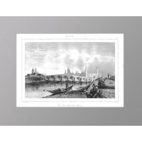 Продается старинная гравюра Москва. Большой Каменный мост. 1838 г. N95