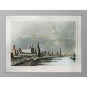 Продается антикварная гравюра Москва. с акварельной раскраской Вид на Кремль и каменный мост. 1838 г. Кадоль