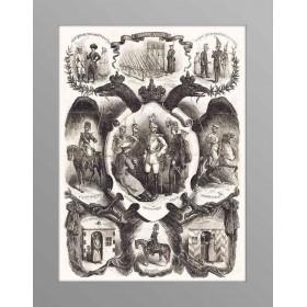 Старинная гравюра на дереве Силовые структуры России 1863 г., антиквариат в подарок