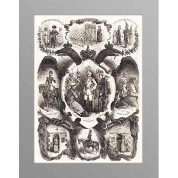 """Старинная гравюра """"Силовые структуры России"""", 1863 г., антиквариат в подарок"""