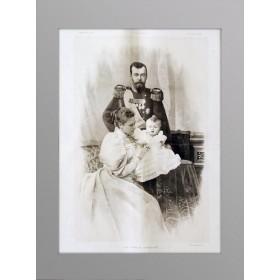 Гравюра для кабинета Император Николай II с семьей, купить антиквариат