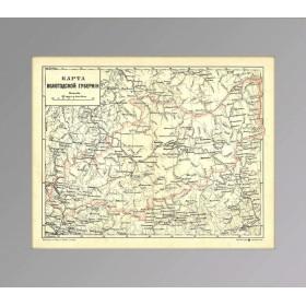 Антикварная карта Вологодской губернии Российской империи XIX века, хромолитография