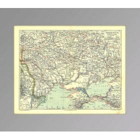 Крым, Малороссия, Южная Россия на антикварной карте 1896 года.