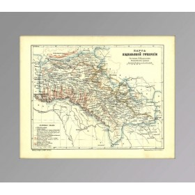 Старинная административно-геологическая карта Подольской губернии, антиквариат в Москве