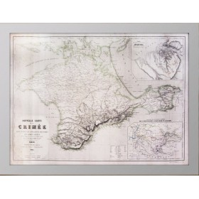Редкая громадная стариннаая карта Крыма. 1855 года. Музейный экземпляр