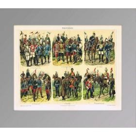 Униформа кавалерии 1897 года, старинная литография в подарок