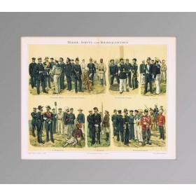 Флот и колониальные войска на старинной литографии