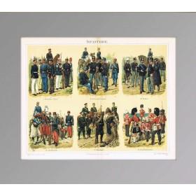 Униформа пехоты, старинная коллекционная литография
