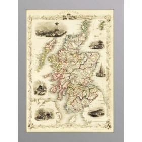 Антикварная карта Шотландии 1851 г., старинные карты в интерьер