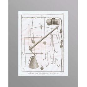 Старинная гравюра из серии Рыбная ловля - Крючки и приспособления №5, подарочный антиквариат