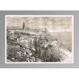 Купить старинную гравюру 1880 г. Крым. Свято-Георгиевский монастырь
