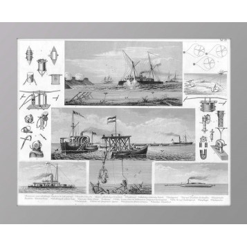 История флота на старинной гравюре, купить антиквариат в Москве