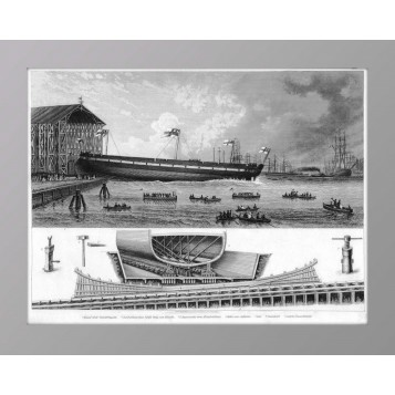 Старинная гравюра История флота. Броненосец, купить антиквариат в Москве