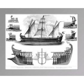 Гравюра из серии История флота - Пентера, старинные предметы в интерьер