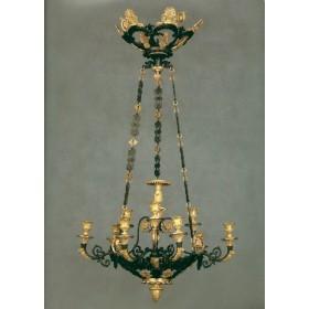 Старинная русская бронзовая люстра в стиле неоготики