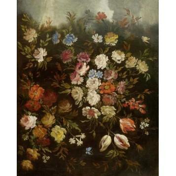 Старинный французский натюрморт с цветами Антикварная живопись