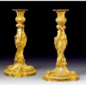 Парные золотые подсвечники автор Мессеньер, антикварная бронза