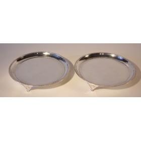 Антикварная пара серебряных блюд, английское антикварное серебро