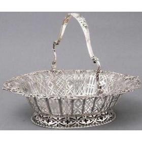 Старинное серебро, антикварная серебряная корзинка для фруктов