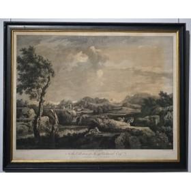 """Антикварная гравюра 1754 года """"Громовой пейзаж"""",Англия."""