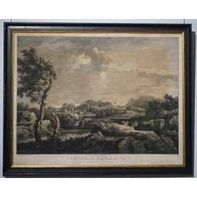 Антикварная гравюра Громовой пейзаж
