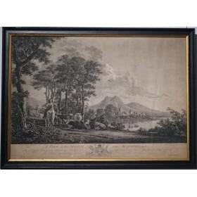 """Антикварная гравюра """"Вид на Маастрихт"""" ,Англия, 1764 год"""