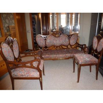 Набор антикварной английской мягкой мебели красного дерева 19 века