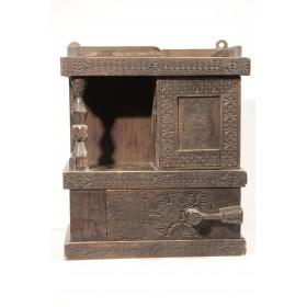 Антикварный русский шкафчик с колонкой Абрамцево по проекту  Е.Д. Поленовой