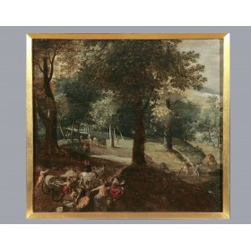 Антикварная живопись, старинная картина Андриан Ван Сталбемт, Фландрия