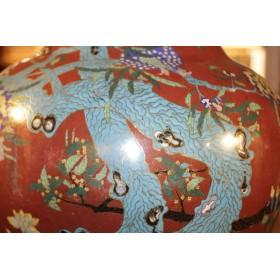 Большая бронзовая антикварная китайская ваза Клуазоне, Династия Цинь